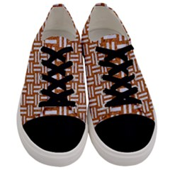 Woven1 White Marble & Rusted Metal Men s Low Top Canvas Sneakers