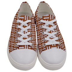 Woven1 White Marble & Rusted Metal Women s Low Top Canvas Sneakers