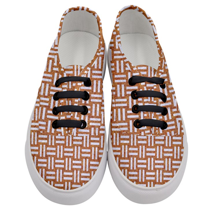 WOVEN1 WHITE MARBLE & RUSTED METAL Women s Classic Low Top Sneakers