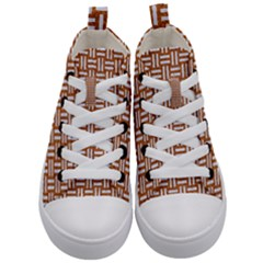 Woven1 White Marble & Rusted Metal Kid s Mid Top Canvas Sneakers