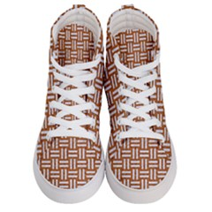 Woven1 White Marble & Rusted Metal Women s Hi Top Skate Sneakers