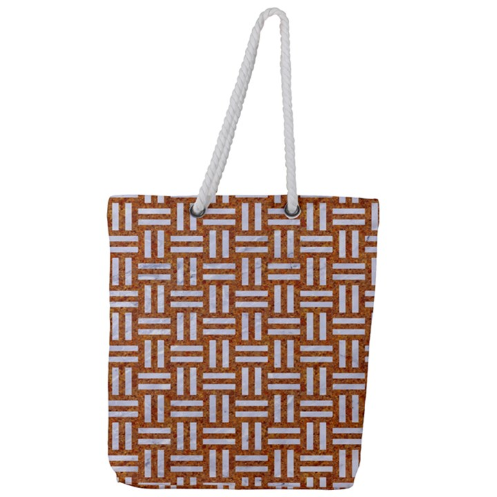 WOVEN1 WHITE MARBLE & RUSTED METAL Full Print Rope Handle Tote (Large)