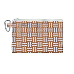 Woven1 White Marble & Rusted Metal Canvas Cosmetic Bag (medium)