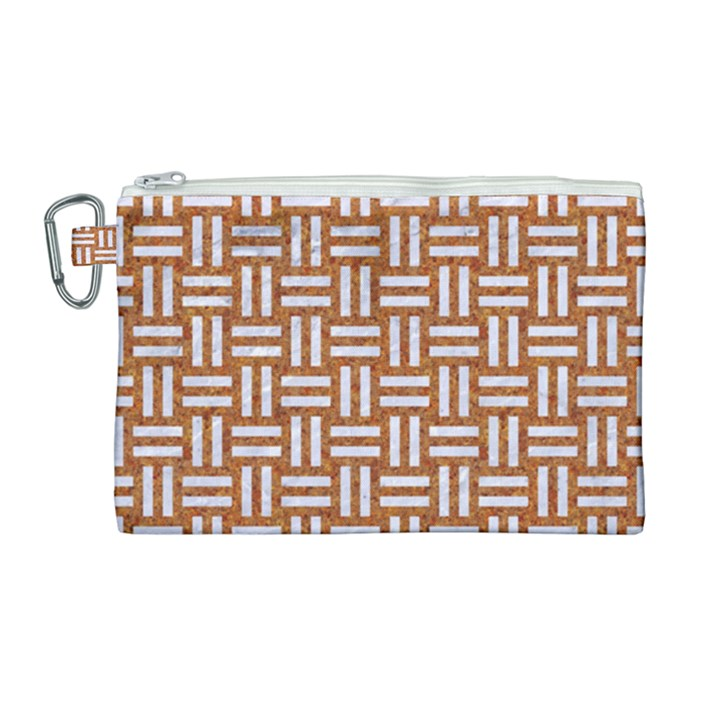 WOVEN1 WHITE MARBLE & RUSTED METAL Canvas Cosmetic Bag (Large)
