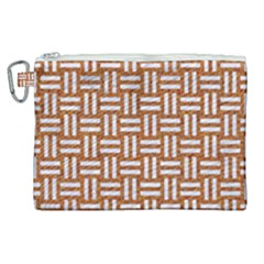Woven1 White Marble & Rusted Metal Canvas Cosmetic Bag (xl)