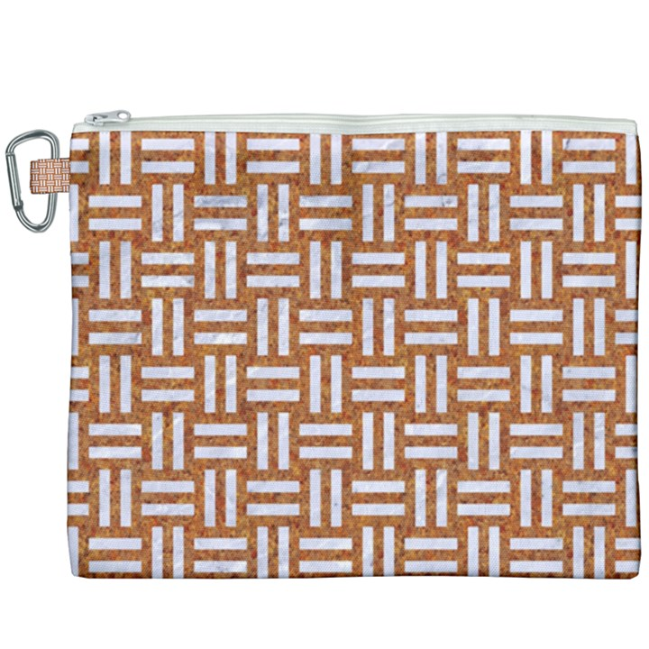 WOVEN1 WHITE MARBLE & RUSTED METAL Canvas Cosmetic Bag (XXXL)