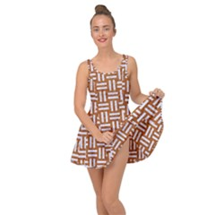 Woven1 White Marble & Rusted Metal Inside Out Dress