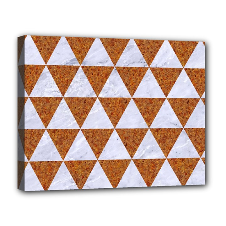 TRIANGLE3 WHITE MARBLE & RUSTED METAL Canvas 14  x 11