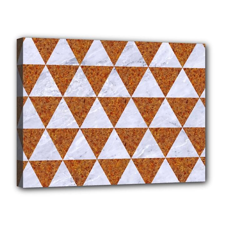 TRIANGLE3 WHITE MARBLE & RUSTED METAL Canvas 16  x 12