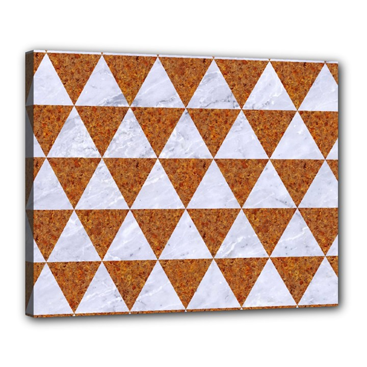 TRIANGLE3 WHITE MARBLE & RUSTED METAL Canvas 20  x 16