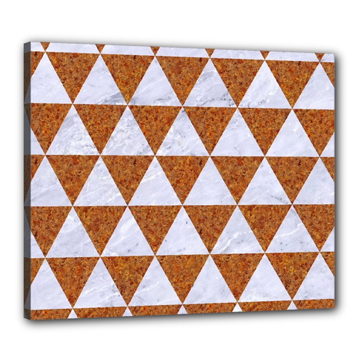 TRIANGLE3 WHITE MARBLE & RUSTED METAL Canvas 24  x 20
