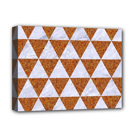 Triangle3 White Marble & Rusted Metal Deluxe Canvas 16  X 12