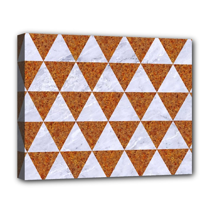 TRIANGLE3 WHITE MARBLE & RUSTED METAL Deluxe Canvas 20  x 16