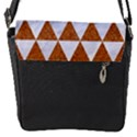 TRIANGLE3 WHITE MARBLE & RUSTED METAL Flap Messenger Bag (S) View1
