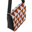 TRIANGLE3 WHITE MARBLE & RUSTED METAL Flap Messenger Bag (S) View2