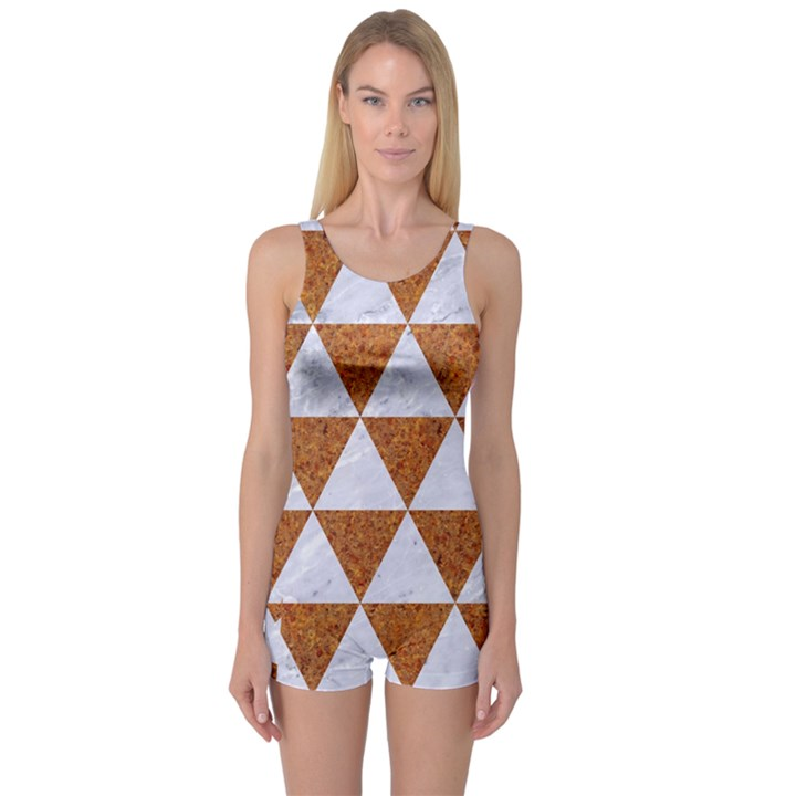 TRIANGLE3 WHITE MARBLE & RUSTED METAL One Piece Boyleg Swimsuit