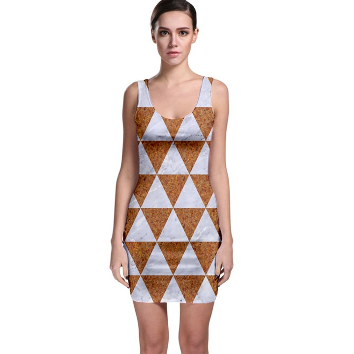 TRIANGLE3 WHITE MARBLE & RUSTED METAL Bodycon Dress