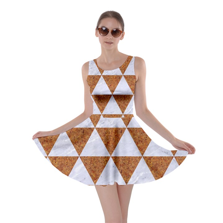 TRIANGLE3 WHITE MARBLE & RUSTED METAL Skater Dress