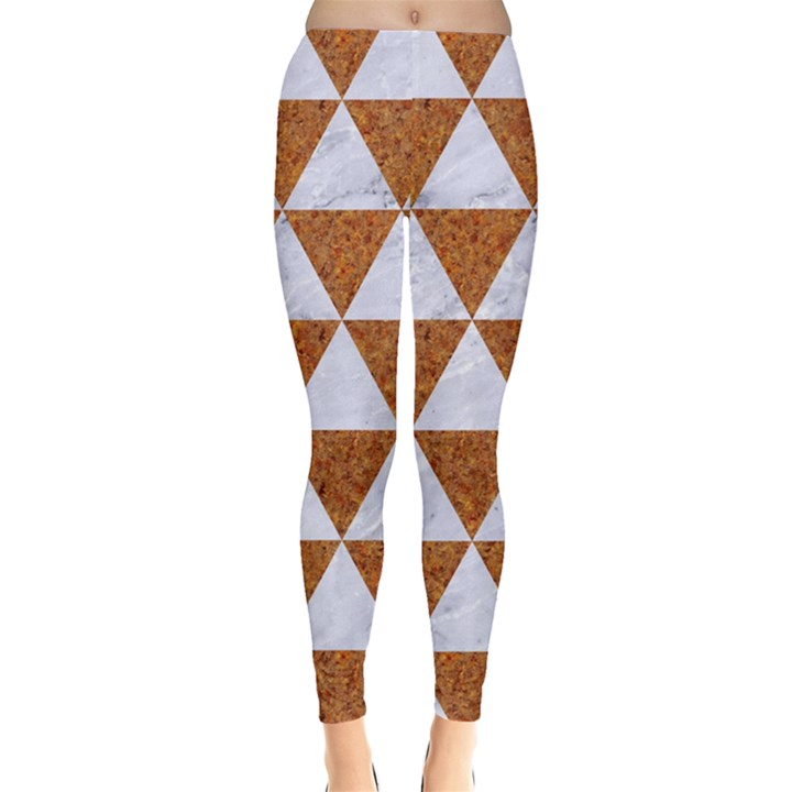 TRIANGLE3 WHITE MARBLE & RUSTED METAL Leggings