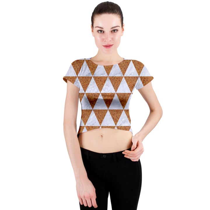 TRIANGLE3 WHITE MARBLE & RUSTED METAL Crew Neck Crop Top