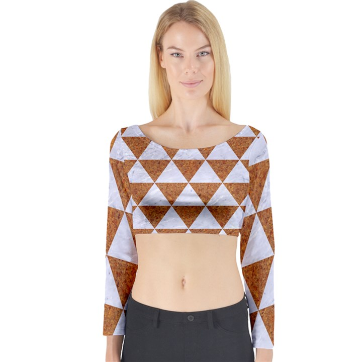 TRIANGLE3 WHITE MARBLE & RUSTED METAL Long Sleeve Crop Top