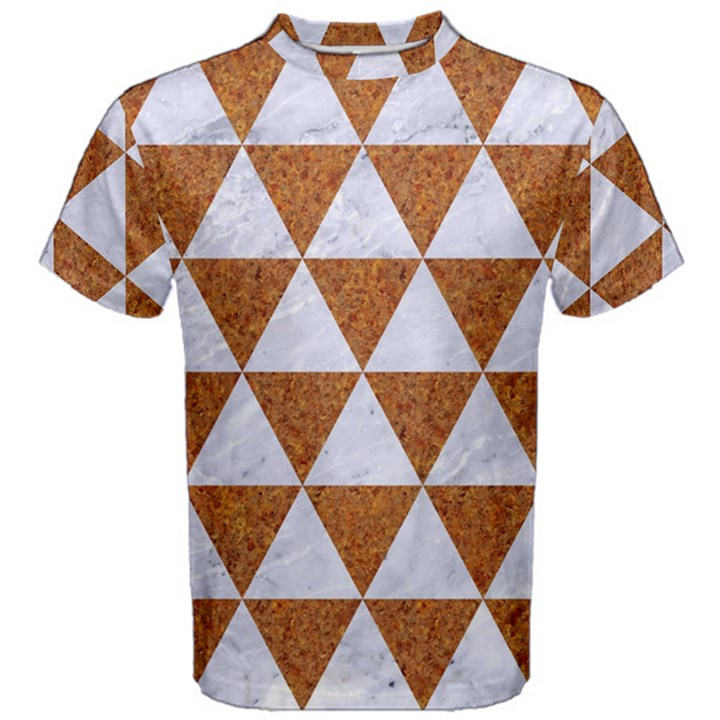 TRIANGLE3 WHITE MARBLE & RUSTED METAL Men s Cotton Tee