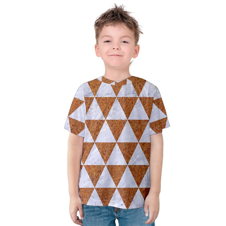 TRIANGLE3 WHITE MARBLE & RUSTED METAL Kids  Cotton Tee