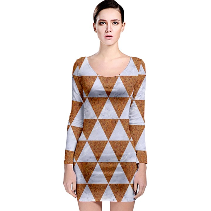 TRIANGLE3 WHITE MARBLE & RUSTED METAL Long Sleeve Bodycon Dress