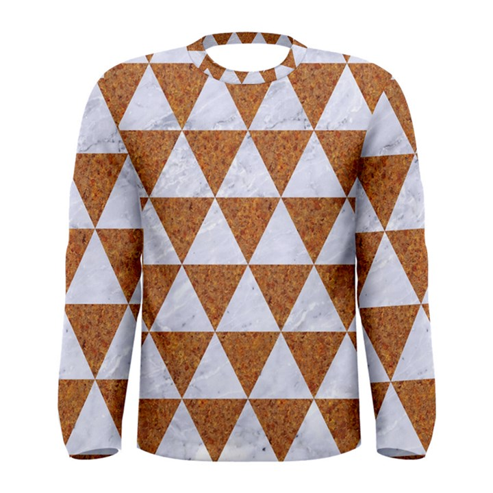 TRIANGLE3 WHITE MARBLE & RUSTED METAL Men s Long Sleeve Tee
