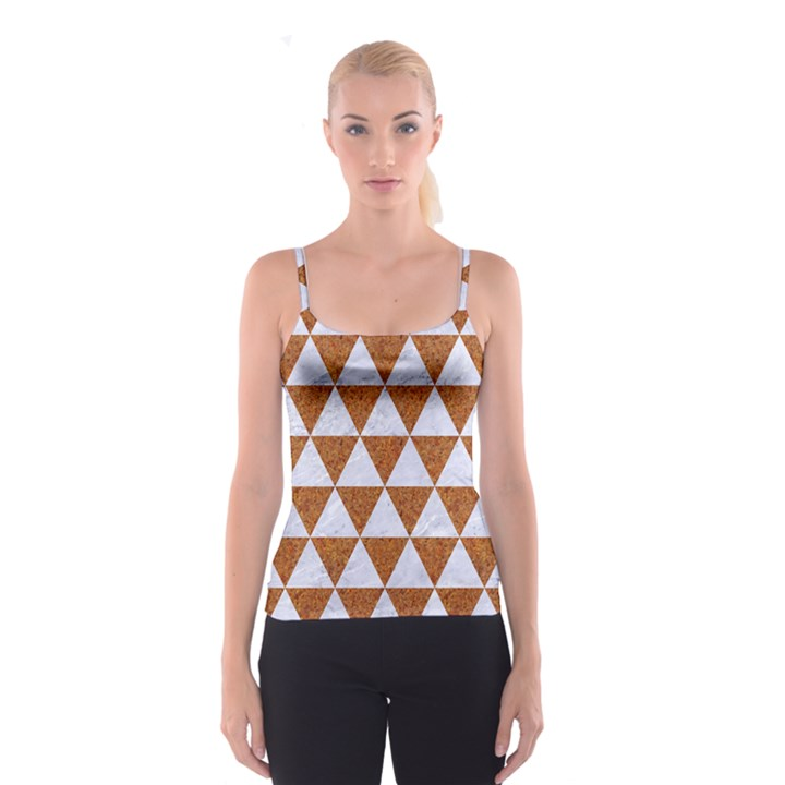 TRIANGLE3 WHITE MARBLE & RUSTED METAL Spaghetti Strap Top