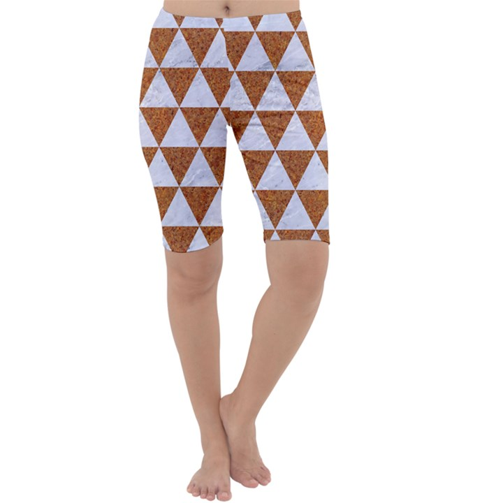 TRIANGLE3 WHITE MARBLE & RUSTED METAL Cropped Leggings