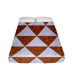 Triangle3 White Marble & Rusted Metal Fitted Sheet (full/ Double Size)