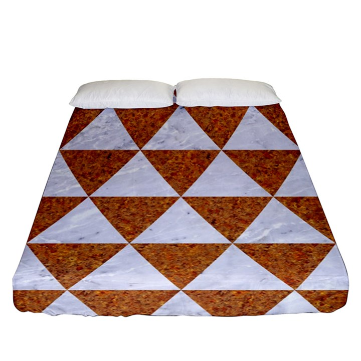 TRIANGLE3 WHITE MARBLE & RUSTED METAL Fitted Sheet (Queen Size)