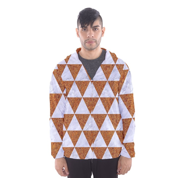 TRIANGLE3 WHITE MARBLE & RUSTED METAL Hooded Wind Breaker (Men)