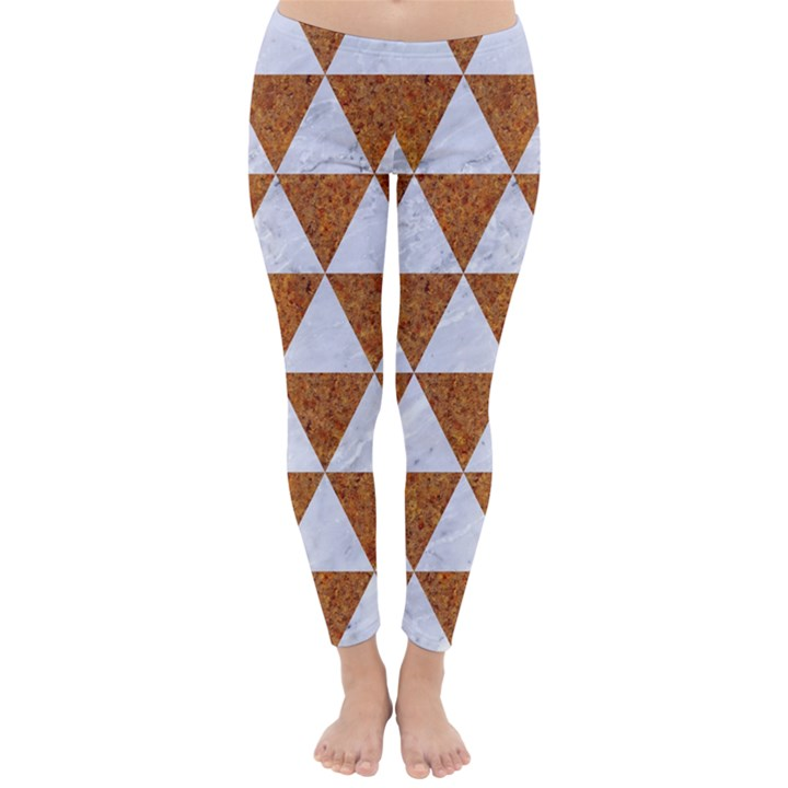 TRIANGLE3 WHITE MARBLE & RUSTED METAL Classic Winter Leggings
