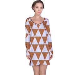 Triangle3 White Marble & Rusted Metal Long Sleeve Nightdress