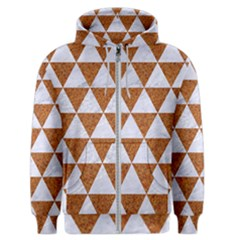 Triangle3 White Marble & Rusted Metal Men s Zipper Hoodie