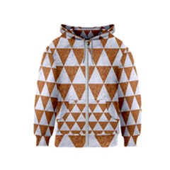 Triangle3 White Marble & Rusted Metal Kids  Zipper Hoodie