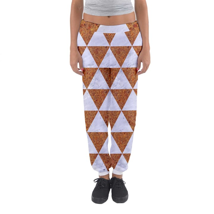 TRIANGLE3 WHITE MARBLE & RUSTED METAL Women s Jogger Sweatpants