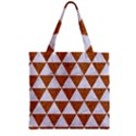 TRIANGLE3 WHITE MARBLE & RUSTED METAL Zipper Grocery Tote Bag View1