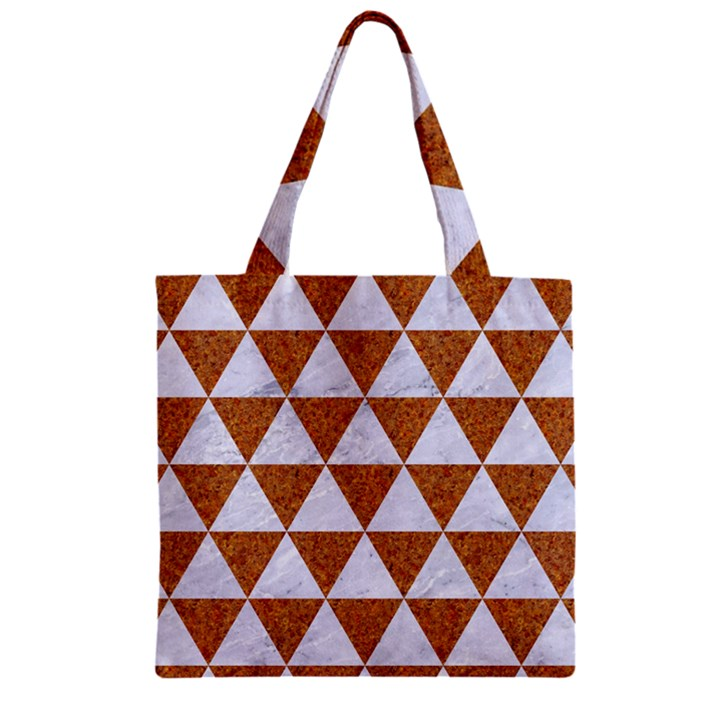 TRIANGLE3 WHITE MARBLE & RUSTED METAL Zipper Grocery Tote Bag