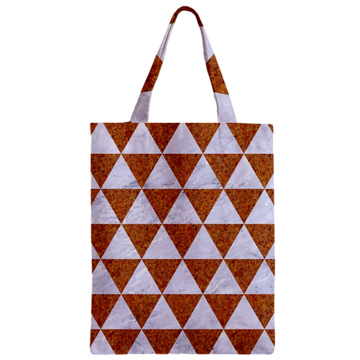 TRIANGLE3 WHITE MARBLE & RUSTED METAL Zipper Classic Tote Bag