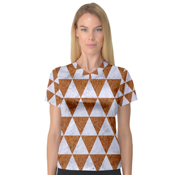 TRIANGLE3 WHITE MARBLE & RUSTED METAL V-Neck Sport Mesh Tee
