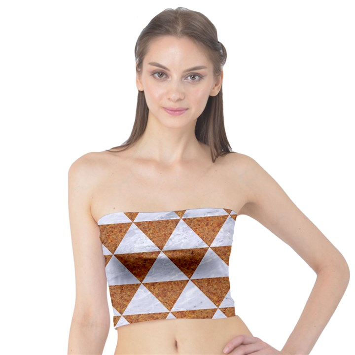TRIANGLE3 WHITE MARBLE & RUSTED METAL Tube Top