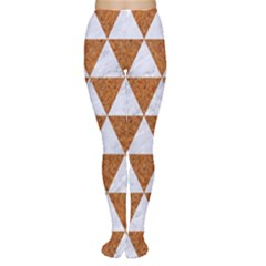 Triangle3 White Marble & Rusted Metal Women s Tights
