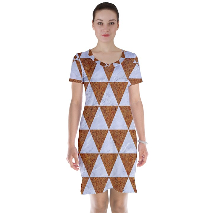 TRIANGLE3 WHITE MARBLE & RUSTED METAL Short Sleeve Nightdress