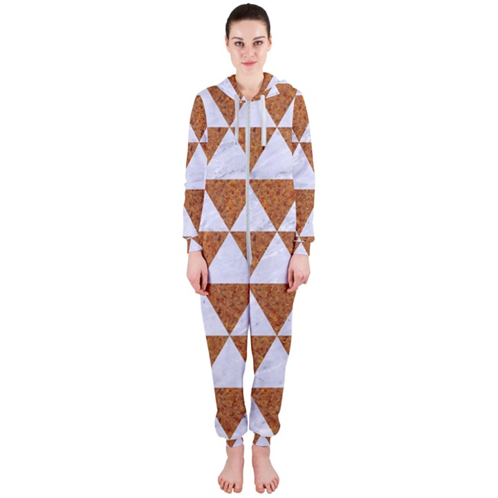 TRIANGLE3 WHITE MARBLE & RUSTED METAL Hooded Jumpsuit (Ladies)
