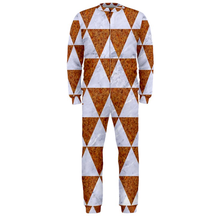 TRIANGLE3 WHITE MARBLE & RUSTED METAL OnePiece Jumpsuit (Men)