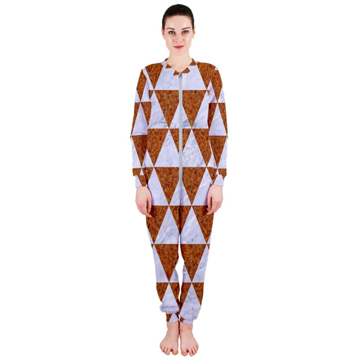 TRIANGLE3 WHITE MARBLE & RUSTED METAL OnePiece Jumpsuit (Ladies)