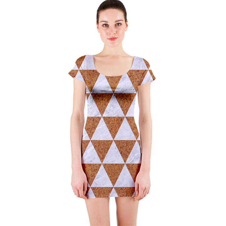 TRIANGLE3 WHITE MARBLE & RUSTED METAL Short Sleeve Bodycon Dress
